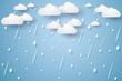Vector illustration rain background, rainy season, paper art style