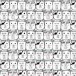 Hand Drawn Bear Vector Pattern. Doodle art. - 159195636
