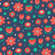 Seamless Colorful Floral Pattern - 159198049