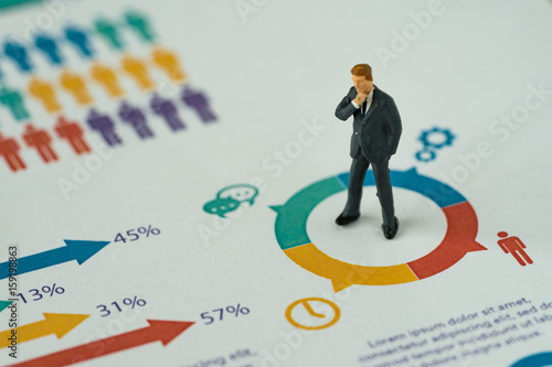 business concept as miniature people businessman thinking and standing at the ce Poster