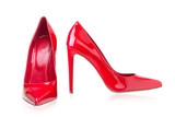 Women's red shoes from a varnish on a white background - 159201231