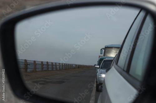 Plakat traffic jam in a city street road