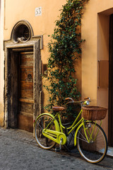 Bycicle in old street in Rome, Italy