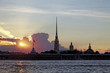 Peter and Paul fortress on Neva river at sunset during the white nights in St. Petersburg, Russia.