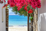 Typical Greek narrow street with summer flowers and view over sea. Naxos island. Cyclades. Greece. - 159217680