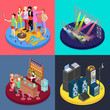 Isometric Party Concept. Night Club Scene, Bar, Corporate Celebration. Vector flat 3d illustration