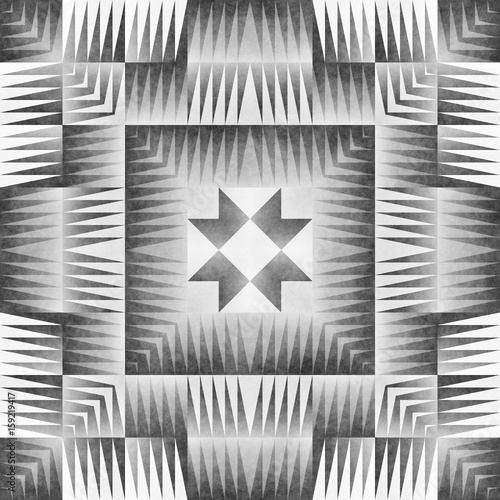 Monochrome Tribal Seamless Pattern. Aztec Style Abstract Geometric Art Print. - 159219417