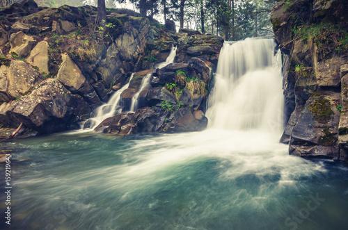 Waterfall Skalnik in Szczawnica, Beskid Sadecki mountain range in Polish Carpathian Mountains - 159219643