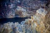 Close-up shot of Kelimutu crater lakes.