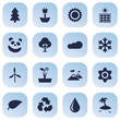 Set Of 16 Nature Icons Set.Collection Of Conservation, Bloom, Pinnacle And Other Elements.