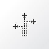Aeroplane Direction Icon Symbol. Premium Quality Isolated Flight Path Element In Trendy Style. - 159223011