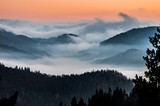 Misty mountains landscape in the morning, Poland