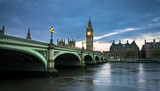 Big Ben and Westminster bridge in London at dusk. - 159228610