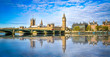 Big Ben and Westminster parliament with blurry refletion in London, United Kingdom at sunny day. - 159228844