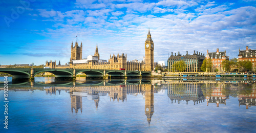 Fotobehang London Big Ben and Westminster parliament with blurry refletion in London, United Kingdom at sunny day.