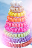 Colorful french macarons on stand