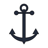 Black anchor over white background vector illustration