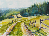 Watercolor rural landscape. Beautiful green field, blue sky and road to the mountains.