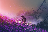 the robot sitting on purple field playing with glowing butterflies, digital art style, illustration painting - 159241259