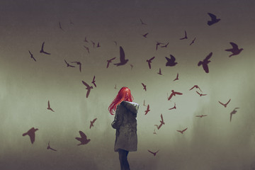 the woman with red hair standing among birds, digital art style, illustration painting © grandfailure
