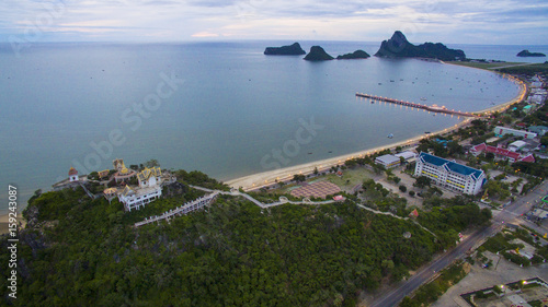 aerial view of prachuap khiri khan harbor in southern of thailand