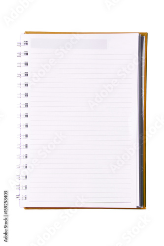 Lined blank notebook with spiral isolated on white background. Poster