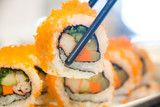 Egg imitation crabmeat cucumber roll sushi