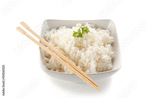 Rice bowl on white background