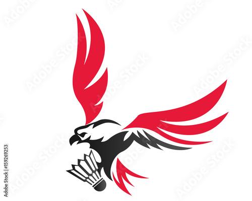Modern Confidence Animal Sport Illustration Logo Badminton Eagle