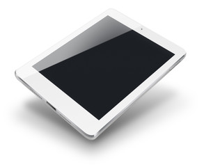 Tablet computer with black screen isolated on white background. Highly detailed illustration.