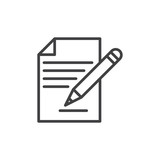 Contract signing, document and pencil line icon, outline vector sign, linear style pictogram isolated on white. Form symbol, logo illustration. Editable stroke. Pixel perfect - 159280417