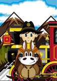 Cartoon Cowboy on Horse with Train