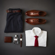 Flat Lay Shot Of Male Business Clothing And Accessories
