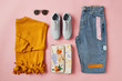 Flat Lay Shot Of Female Autumn Clothing And Accessories