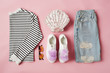 Flat Lay Shot Of Female Parisian Style Clothing And Accessories