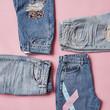 Flat Lay Shot Of Vintage Denim Jeans