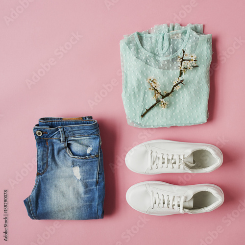 Flat Lay Shot Of Girls Spring Clothing And Accessories