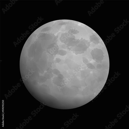 Moon - artistic vector illustration of full moon on black background.