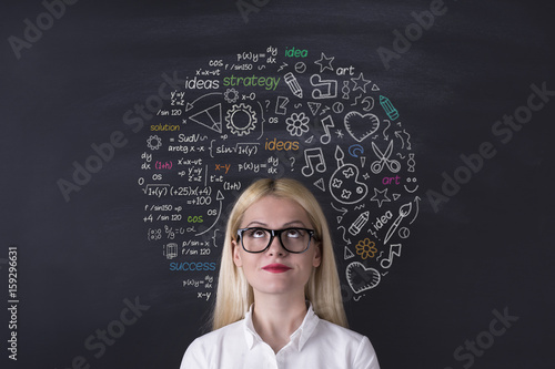 Business woman brain hemisphere on the blackboard Poster