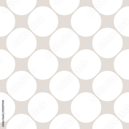 Circles seamless pattern, simple vector geometric texture in soft pastel colors, white & beige. Illustration of perforated surface, mesh. Subtle repeat background. Design element for prints, decor