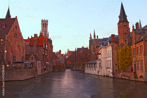 Poster Brugge The fabulous medieval city of Bruges. Belgium.