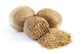 Group of nutmeg seeds isolated on white background - 159305000