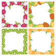 Set of square colored frames composed of delicious fruits kiwi, orange, pineapple and dragon fruit. With space for text. - 159308486