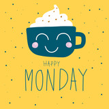 Fototapety Happy Monday cute coffee cup on polka dot background vector illustration