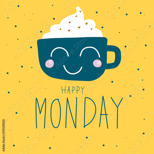 Happy Monday cute coffee cup on polka dot background vector illustration