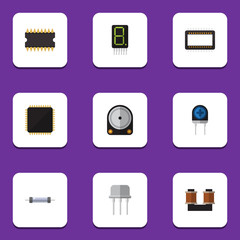Flat Icon Device Set Of Coil Copper, Microprocessor, Cpu And Other Vector Objects. Also Includes Recipient, Mainframe, Spool Elements.