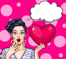 Pop Art woman hold red heart. Comic woman. Sexy .Pop Art love. Valentines day postcard. Wow,