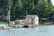 New England lobster dock with traps and shack