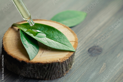 Plakat Close-up of cosmetic oil dripping from a pipette on a green leaf on a wooden cut