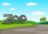 Zoo scene with green field